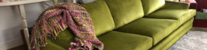 Custom Upholstered Green Couch